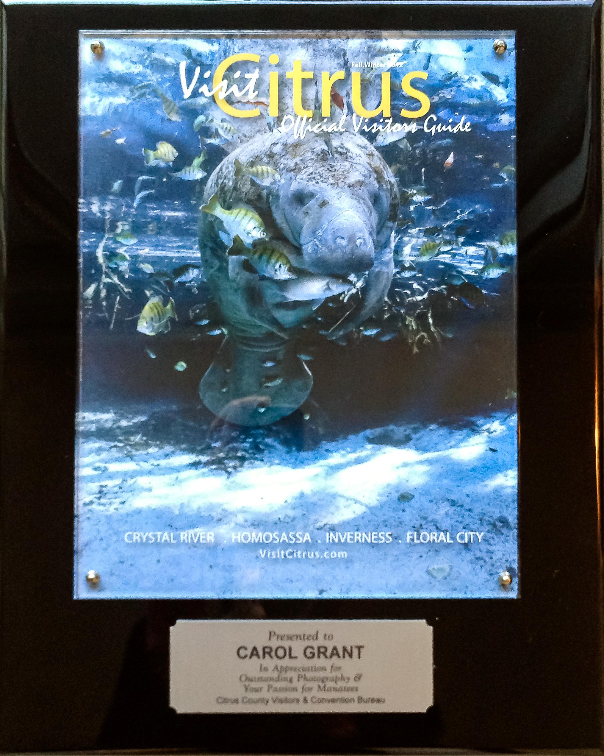 Visit Citrus,Manatee Cover,Carol Grant,Florida,Citrus County