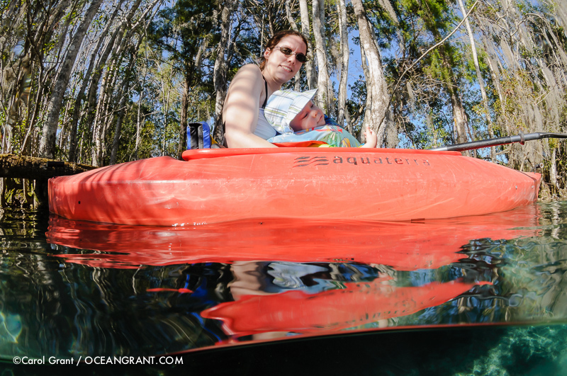 Kayak, mother and child, enjoyment, Three Sisters Springs, Florida,