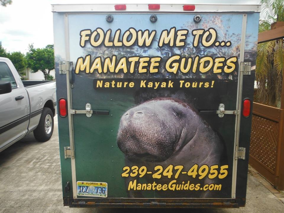 Manatees, Manatee Guides, trailer wrap, kayaks, rear,