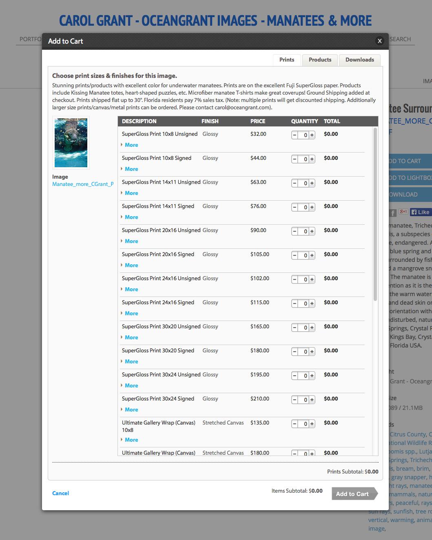 Oceangrant.com, screenshot, manatee prints
