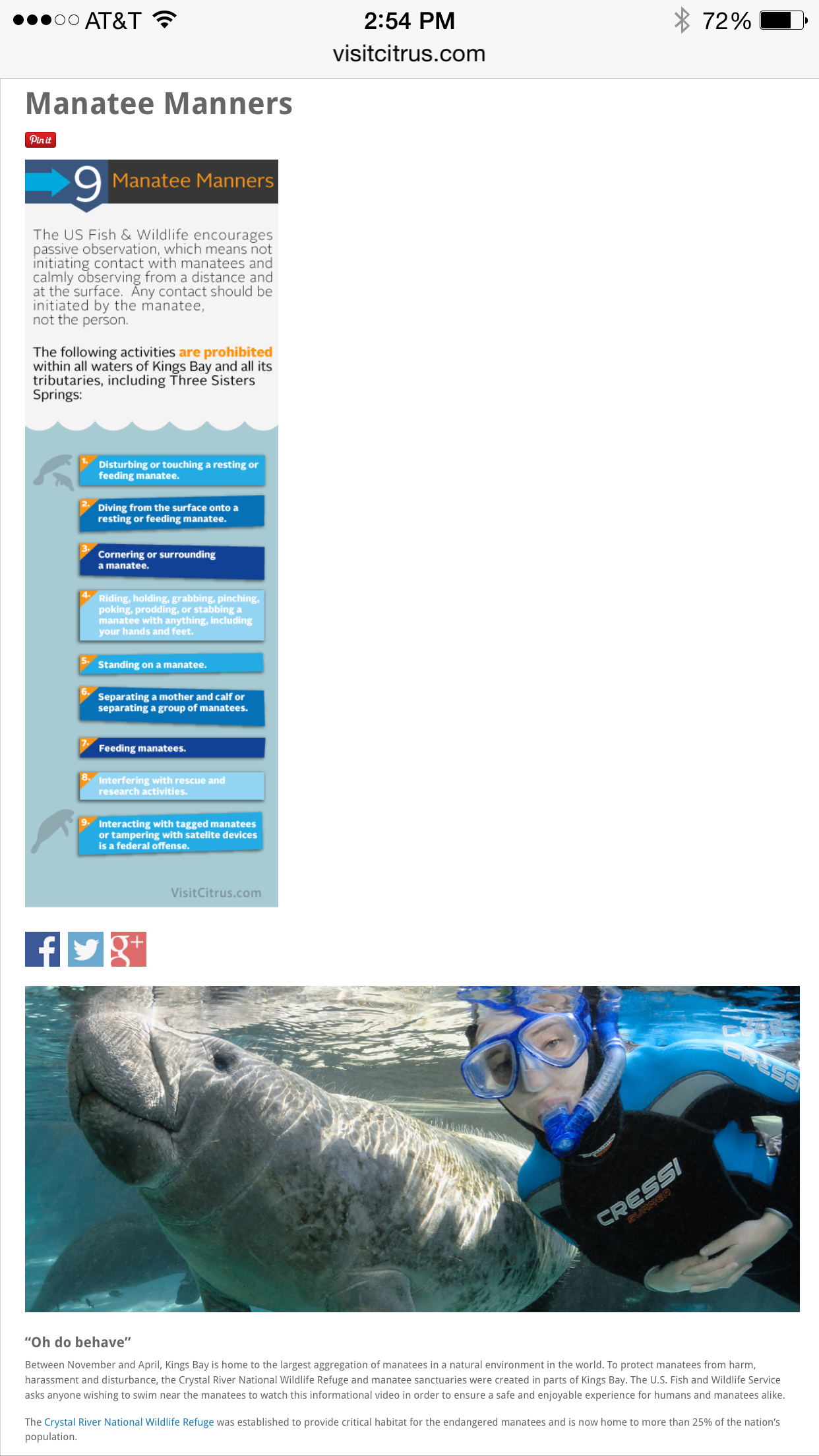 Visit Citrus, screenshot, manatee manners, photos Carol Grant,