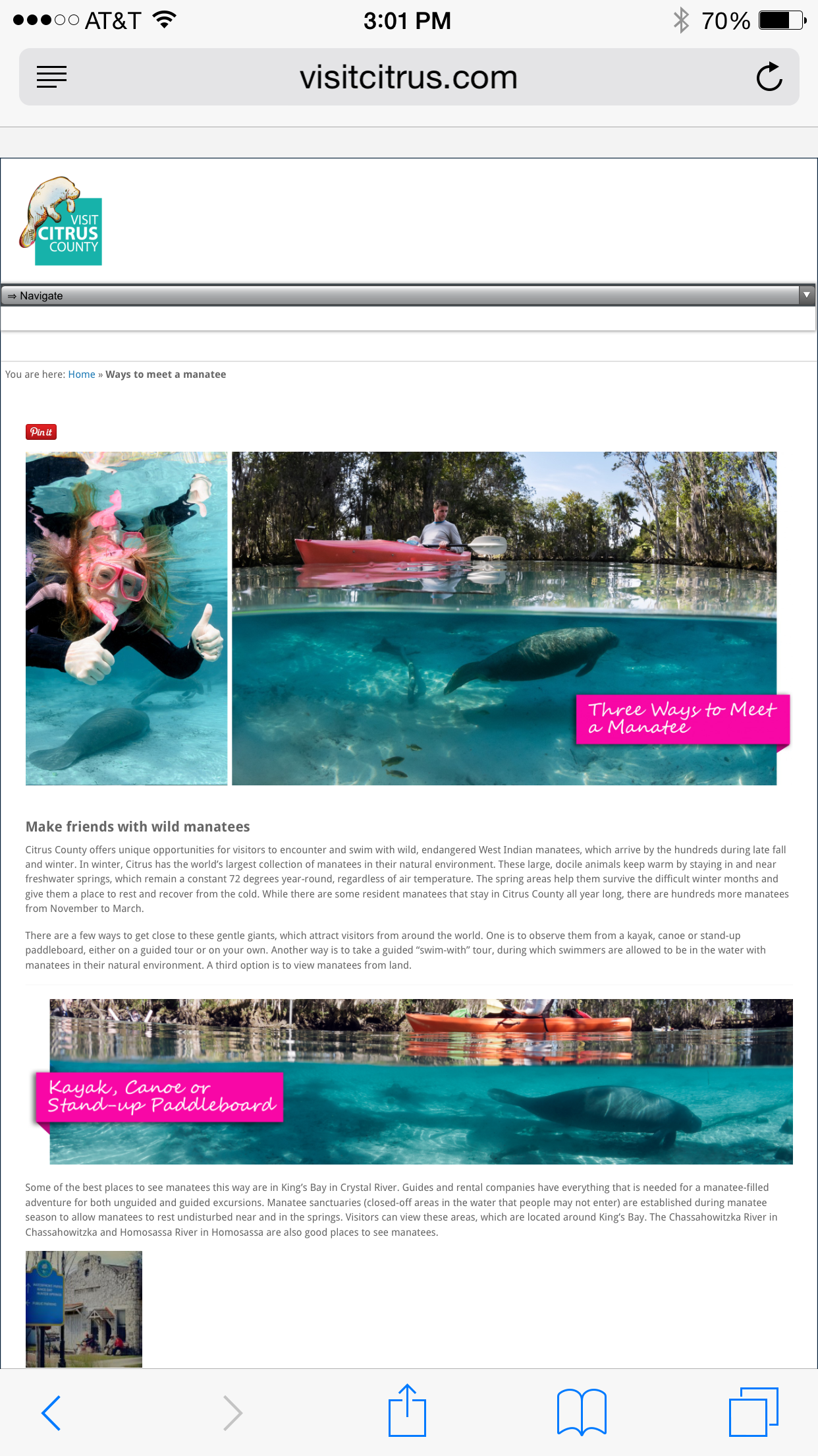 VisitCitrus.com, meet a manatee, screenshot, photos by Carol Grant,