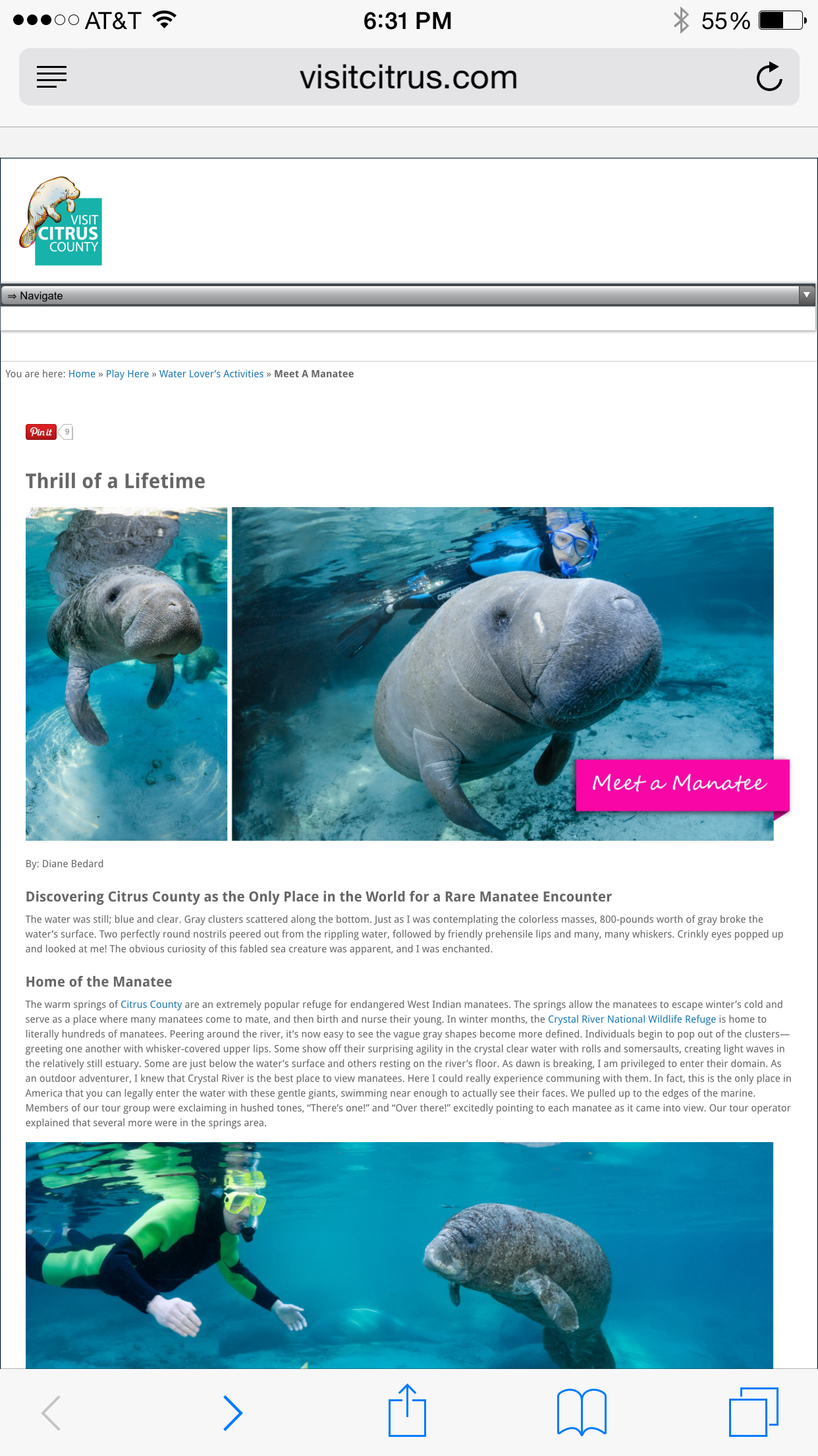 VisitCitrus.com, screenshot, meet a manatee, thrill of a lifetime, photos by Carol Grant,